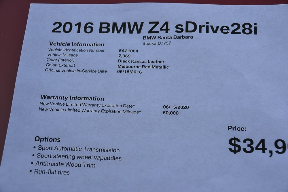 Pre-Owned 2016 BMW Z4 sDrive28i